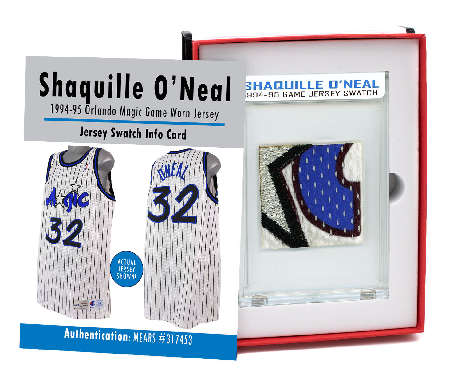 SHAQUILLE O'NEAL 1995 ORLANDO MAGIC GAME WORN JERSEY MYSTERY SEALED SWATCH BOX!