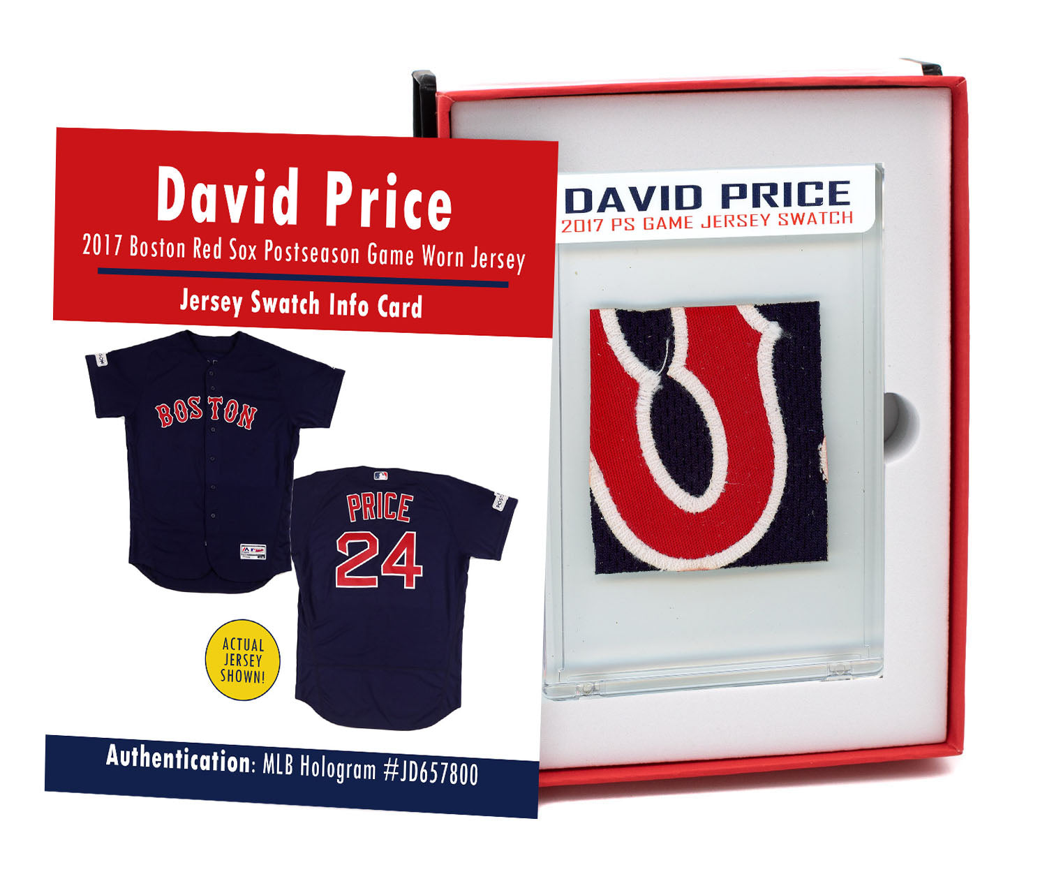 DAVID PRICE 2017 RED SOX POSTSEASON GAME WORN JERSEY MYSTERY SEALED SWATCH BOX!