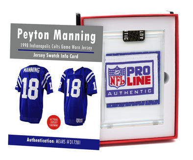 Peyton Manning 1998 Colts Rookie Year Game Worn Jersey Mystery Swatch Box