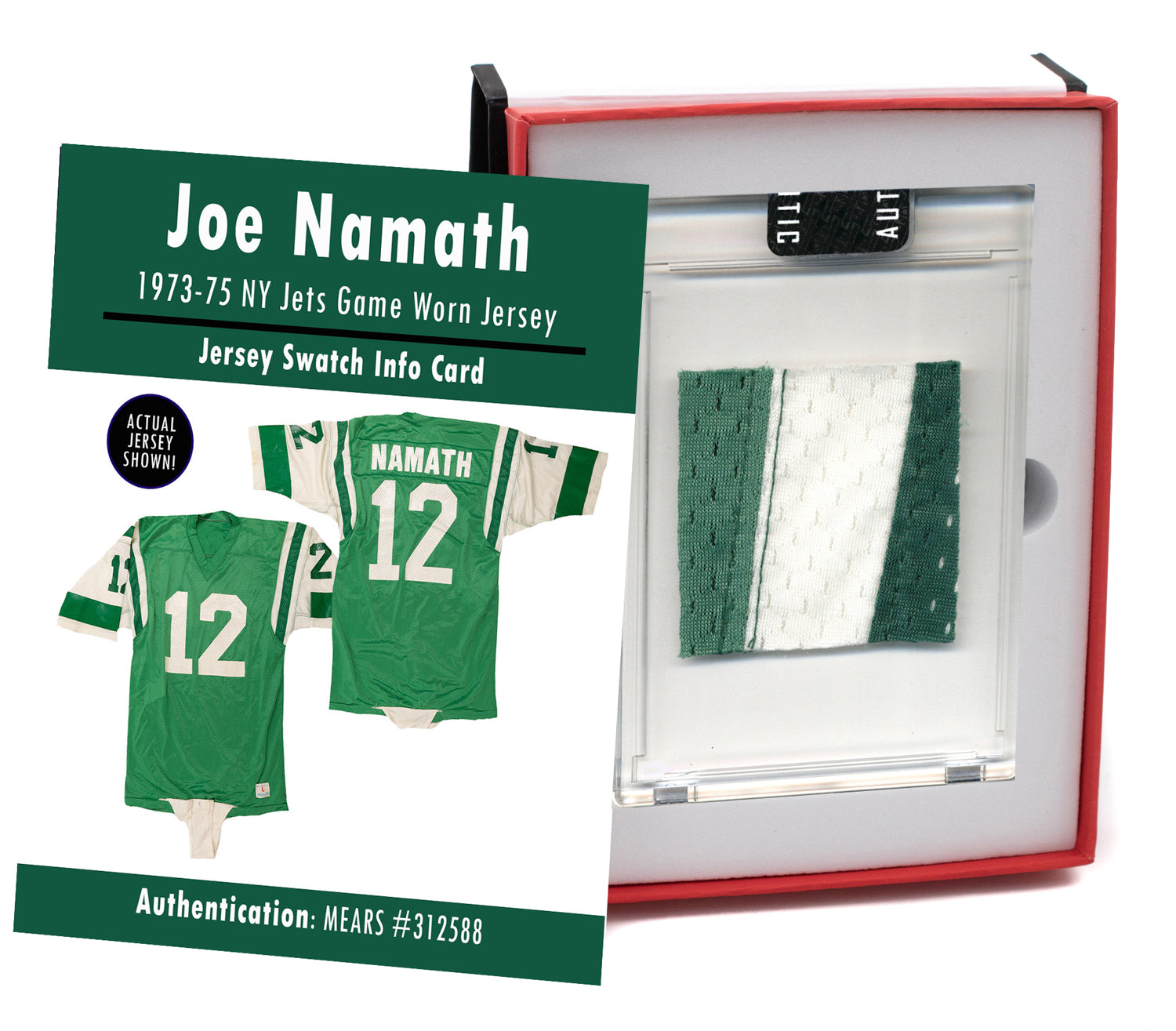 Joe Namath 1973-75 New York Jets Game Worn Jersey Mystery Swatch Box