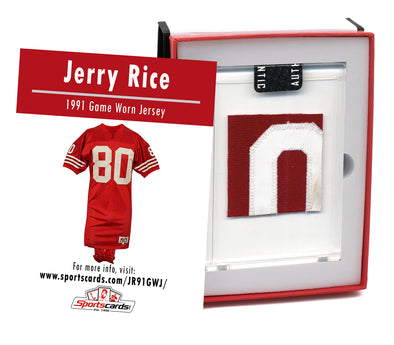 Jerry Rice 1991 San Francisco 49ers Game Worn Jersey Mystery Swatch Box