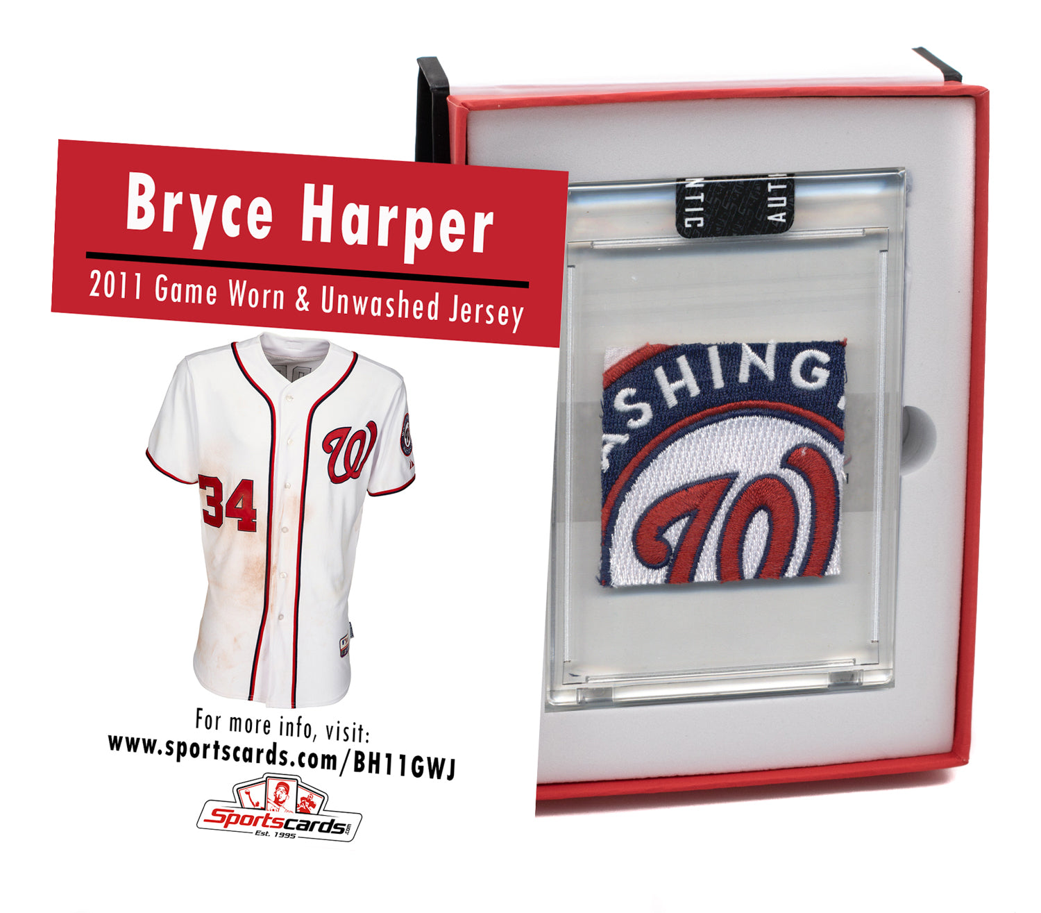 Bryce Harper 2011 Game Worn Rookie Nationals Jersey Mystery Sealed Swatch Box