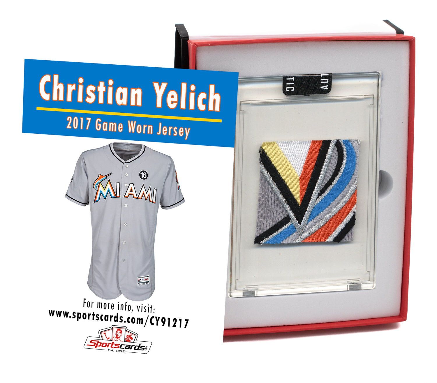 Christian Yelich 2017 Marlins Game Worn Jersey Mystery Sealed Swatch Box