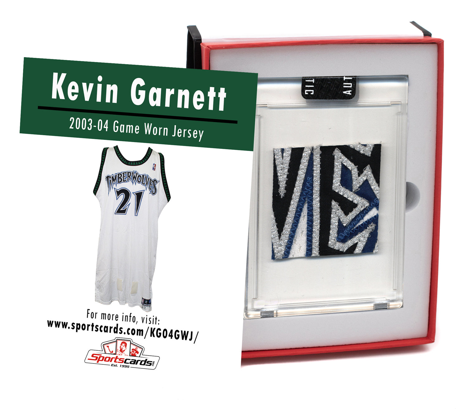 Kevin Garnett 2003-04 Timberwolves Game Worn Jersey Mystery Sealed Swatch Box