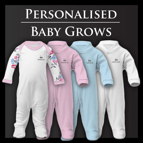 Personalised Baby Grows | Sleepsuits | Free Gift Box | From £15