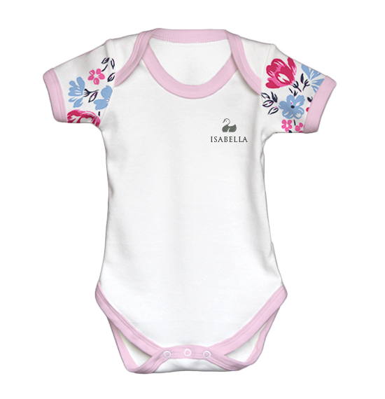 Personalised Baby Vest | Bodysuit | Short Sleeve Floral