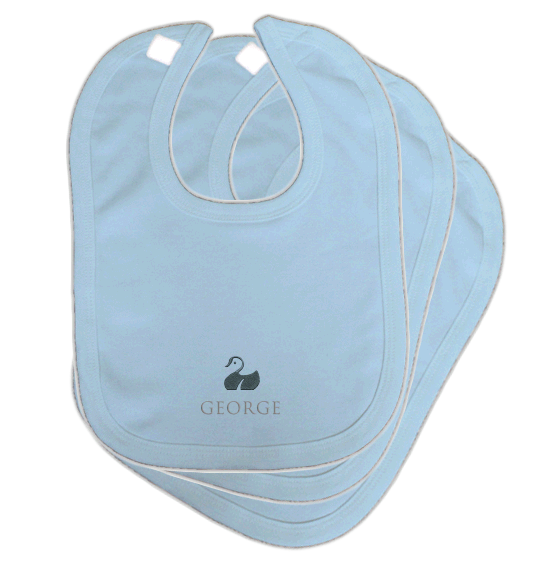 Personalised Baby Bibs | Classic Velcro | Pack of 3 | Classic Blue