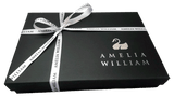 The Amelia William luxury gift box, the perfect way to give your personalised baby clothing gift to a loved one.