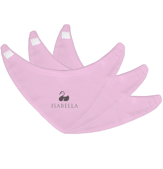 Personalised Baby Bibs | Bandana Velcro | Pack of 3 | Classic Pink