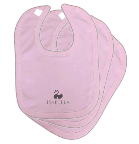 Personalised Baby Bibs | Classic Velcro | Pack of 3 | Classic Pink
