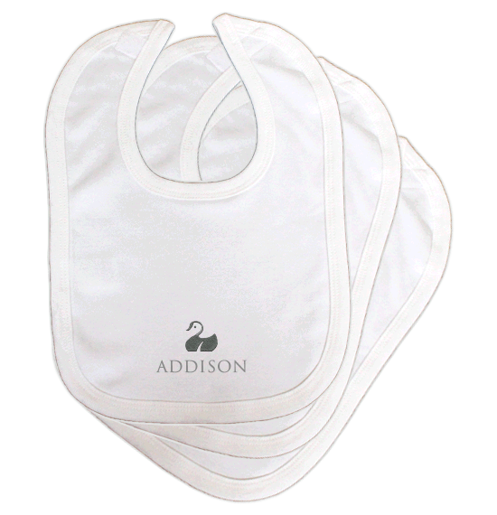 Personalised Baby Bibs | Classic Velcro | Pack of 3 | Classic White