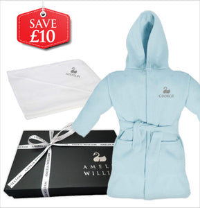 Personalised Baby Dressing Gown & Hooded Towel Gift Set | Classic Blue