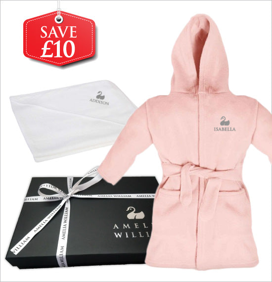 Personalised Baby Dressing Gown & Hooded Towel Gift Set | Classic Pink