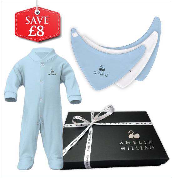 Personalised Baby Grow & Bandana Bibs Gift Set | Classic Blue