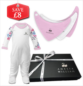 Personalised Baby Grow & Bandana Bibs Gift Set | Floral