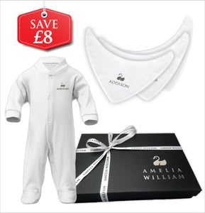 Personalised Baby Grow & Bandana Bibs Gift Set | Classic White