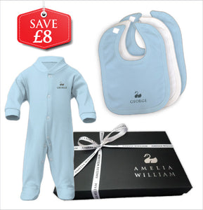 Personalised Baby Grow & Bibs Gift Set | Classic Blue