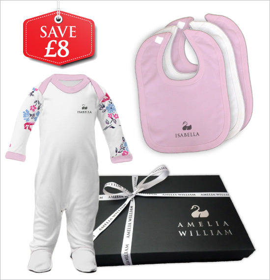 Personalised Baby Grow & Bibs Gift Set | Floral