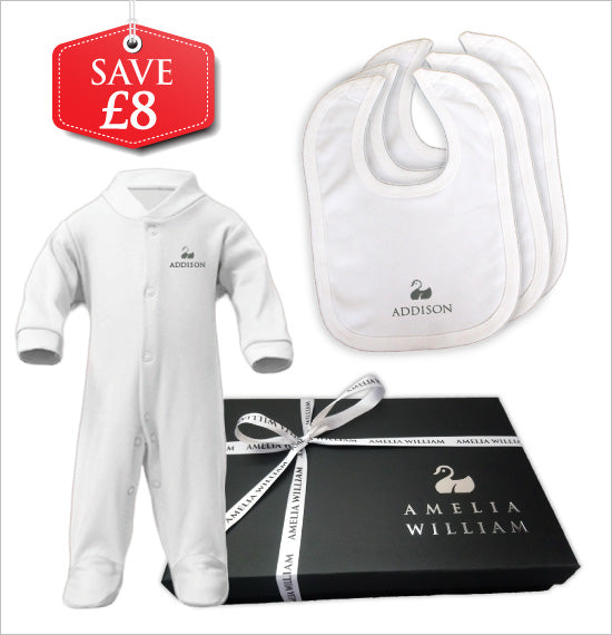Personalised Baby Grow & Bibs Gift Set | Classic White