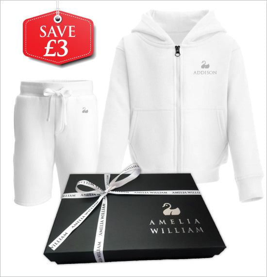 Personalised Baby Hoodie & Shorts Gift Set | Classic White