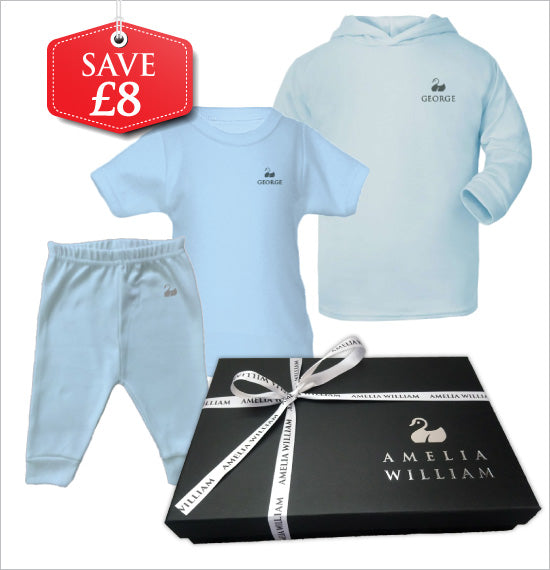 Personalised Baby Hoodie, TShirt & Trousers Gift Set | Classic Blue