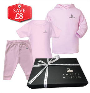 Personalised Baby Hoodie, TShirt & Trousers Gift Set | Classic Pink