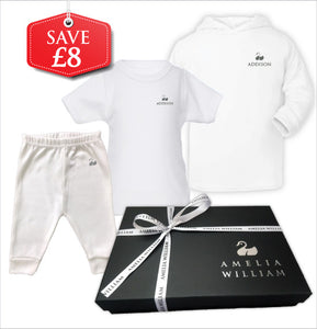 Personalised Baby Hoodie, TShirt & Trousers Gift Set | White