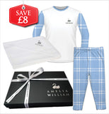Personalised Baby Pyjamas & Hooded Towel Gift Set | Check Blue