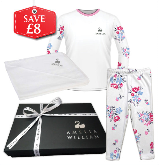Personalised Baby Pyjamas & Hooded Towel Gift Set | Floral