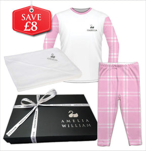 Personalised Baby Pyjamas & Hooded Towel Gift Set | Check Pink
