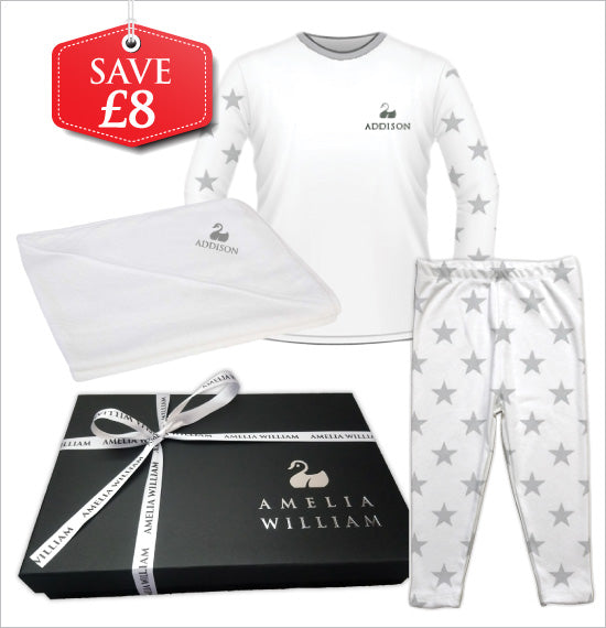 Personalised Baby Pyjamas & Hooded Towel Gift Set | Star Grey