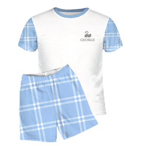 Personalised Baby Pyjamas | Short Set | Classic Check Blue