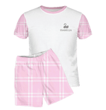 Personalised Baby Pyjamas | Short Set | Classic Check Pink