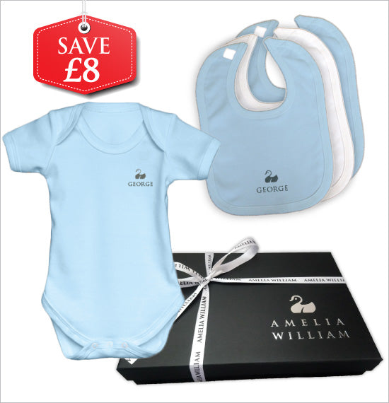 Personalised Baby Vest & Bibs Gift Set | Classic Blue