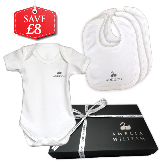 Personalised Baby Vest & Bibs Gift Set | Classic White