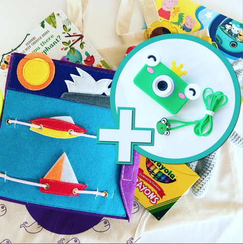 Bookywoo Bookywoo Pre-School Travel Bundle plus Froggy Prince Camera! Busy Book Quiet Book Felt Book educational toys Occupational therapy products toddler fun activities