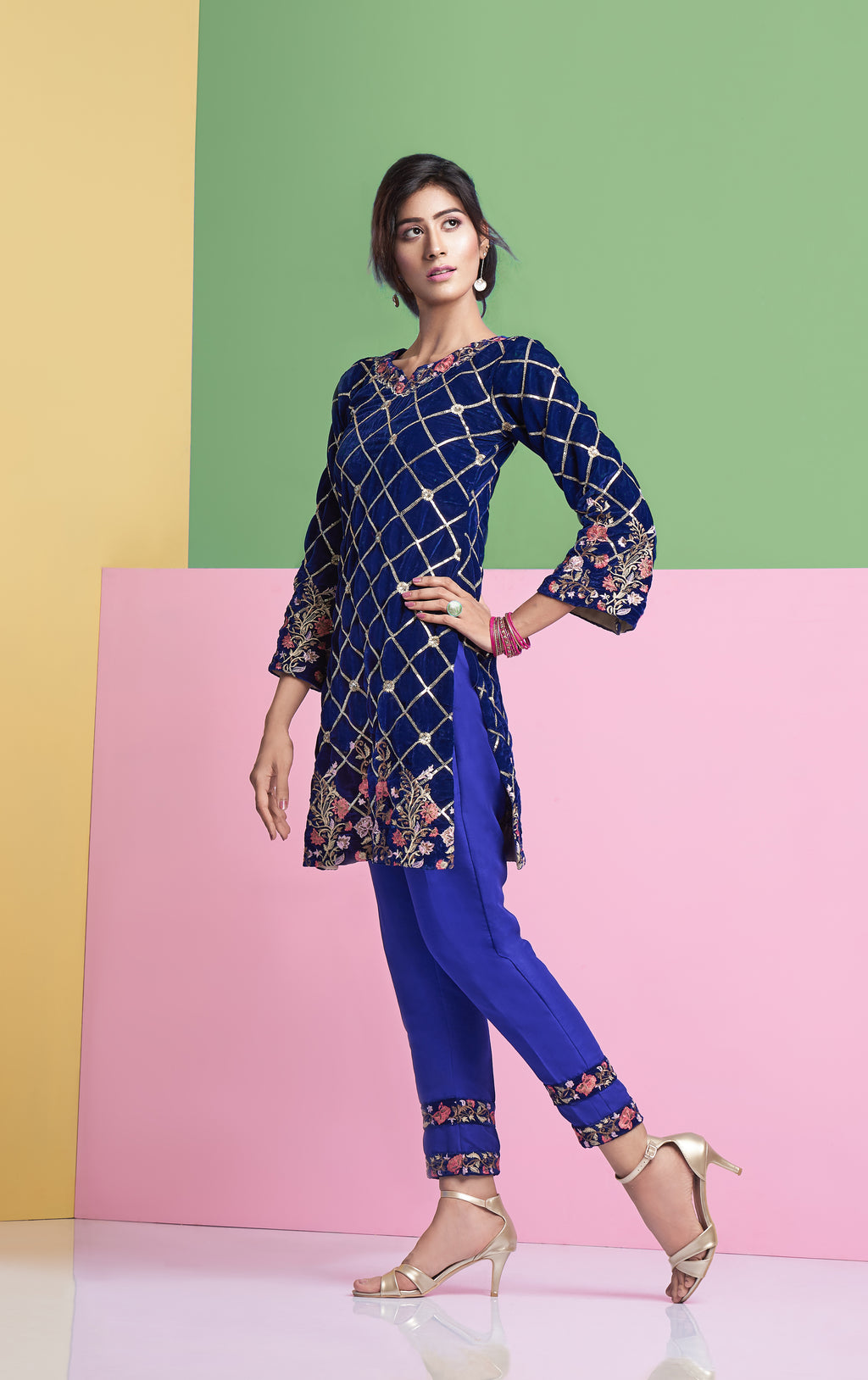 Embroidered Velvet shirt, Royal Blue Designer shirt
