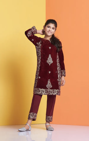 Maroon Designer Velvet Shirt, Maroon Designer Velvet Shirt for children