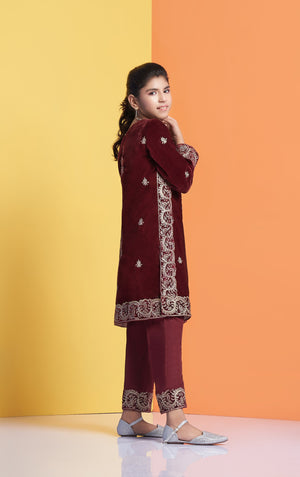 Velvet shirt for women, Embroidered Velvet shirt