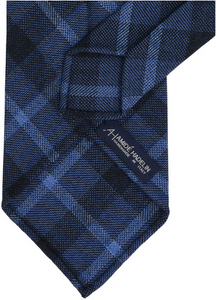 Holland & Sherry block chek tweed Krawatte - French blue/navy