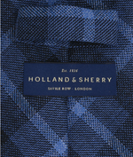 Lade das Bild in den Galerie-Viewer, Holland & Sherry block chek tweed Krawatte - French blue/navy