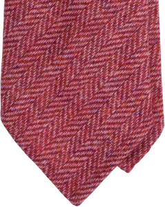 Holland & Sherry heringbone tweed Krawatte - cherry