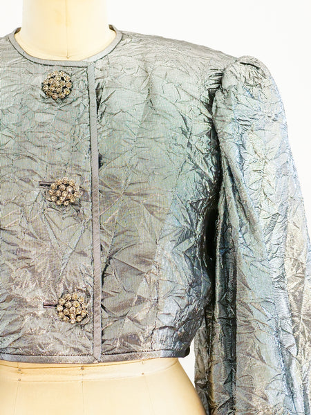 Silver Lame Wrinkle Texture Jacket