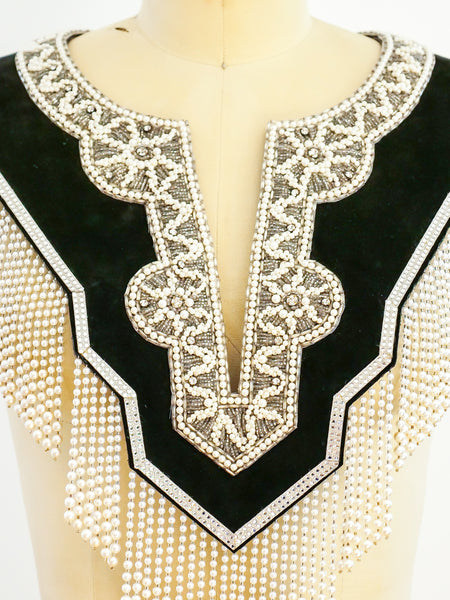 Beaded Fringe Suede Bib