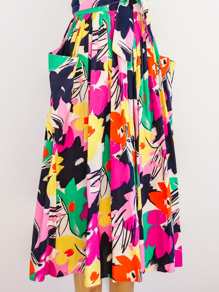 Victor Costa Floral Cotton Wrap Jumper
