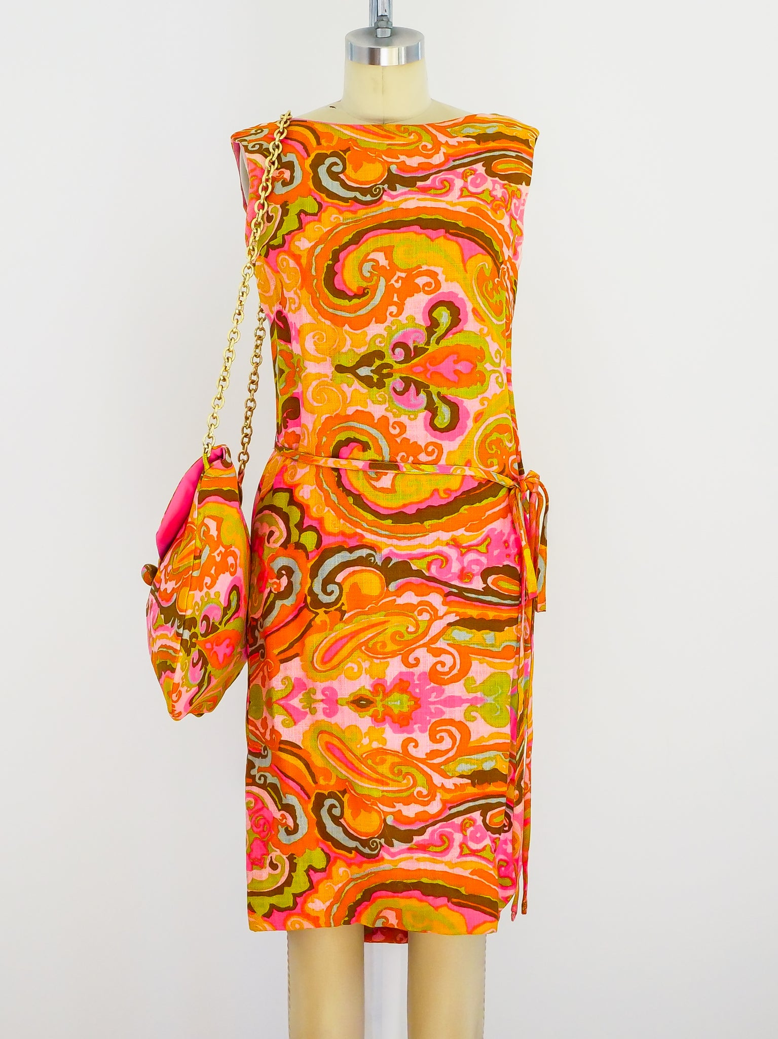 1960's Paisley Mini Dress with Matching Bag