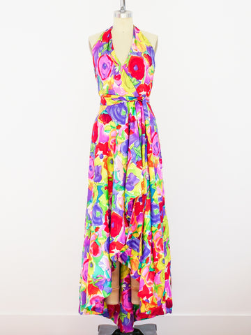 Adele Simpson Floral Halter Gown