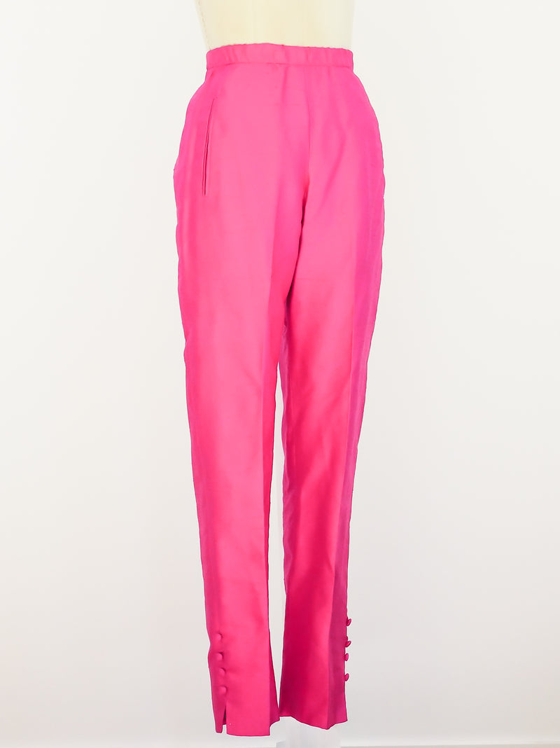 Donna Karan Fuchia Raw Silk Pants