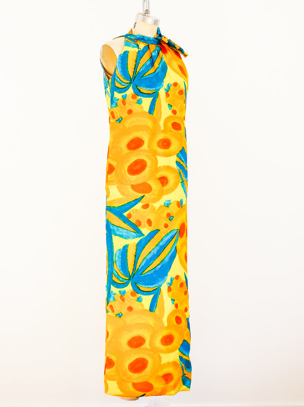 1960's Tropical Floral Sleeveless Maxi Dress