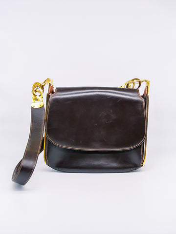1970's Gucci Brown Leather Saddle Bag